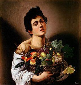 「果物籠を持つ少年」(1593年頃)ミケランジェロ・メリージ・ダ・カラヴァッジョ