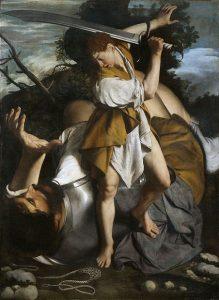 「ダヴィデとゴリアテ」(1605‐07年頃)オラツィオ・ジェンティレスキ