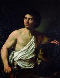 「ゴリアテの首を持つダヴィデ」(1621年)シモン・ヴーエ