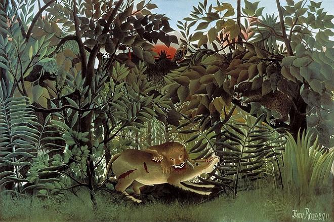 「飢えたライオン」(1905年)アンリ・ルソー
