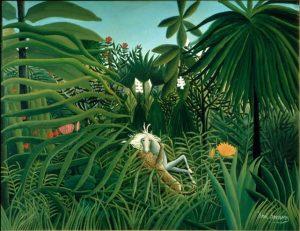 「馬を襲うジャガー」(1910年)アンリ・ルソー