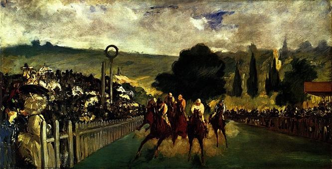 「ロンシャン競馬場」(1867年)エドゥアール・マネ