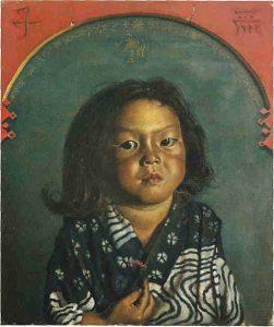「麗子肖像(五歳之像)」(1918年10月8日)岸田劉生
