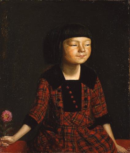 「麗子八歳洋装之図」(1921年9月27日)岸田劉生