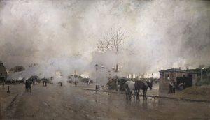 「パリ環状鉄道の煙(パリ郊外)」(1885年)ルイジ・ロワール