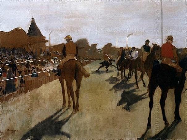 「観覧席前の競走馬」(1872年)エドガー・ドガ