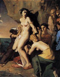 「ネレイスに岩に鎖で縛られるアンドロメダ」(1840年)テオドール・シャセリオー