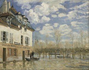「洪水のなかの小舟、ポール=マルリー」(1876年)アルフレッド・シスレー