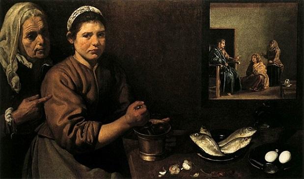 「マルタとマリアの家のキリスト」(1618年頃)ディエゴ・ベラスケス