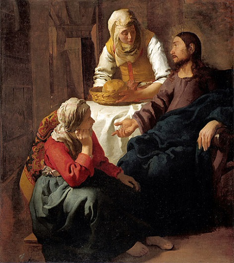 「マルタとマリアの家のキリスト」(1654‐55年頃)ヨハネス・フェルメール