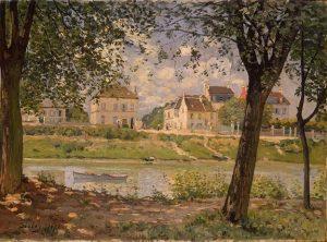 「セーヌ河岸のヴァルヌーヴ・ラ・ガレンヌ」(1872年)アルフレッド・シスレー
