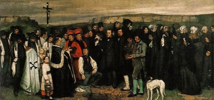 「オルナンの埋葬」(1849年)ギュスターヴ・クールベ