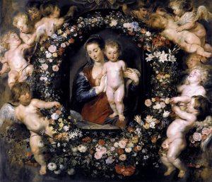「花環の聖母子」(1620年)ペーテル・パウル・ルーベンス