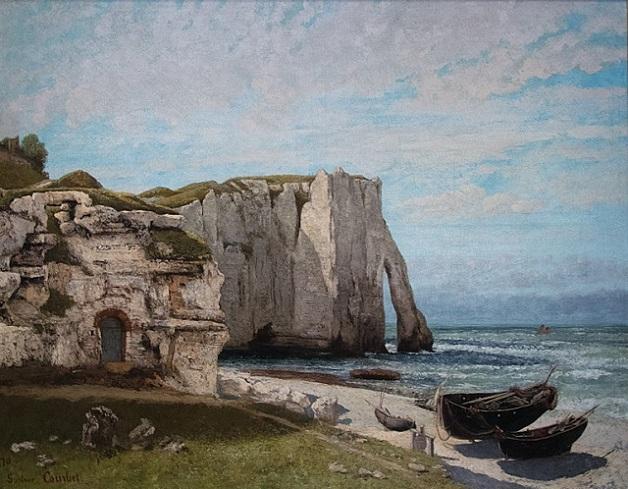 「エトルタの崖、嵐のあと」(1870年)ギュスターヴ・クールベ