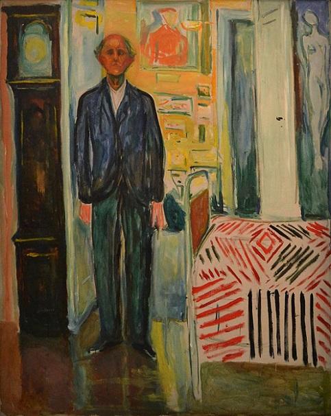 「自画像、時計とベッドの間」(1940‐1943年)エドヴァルド・ムンク