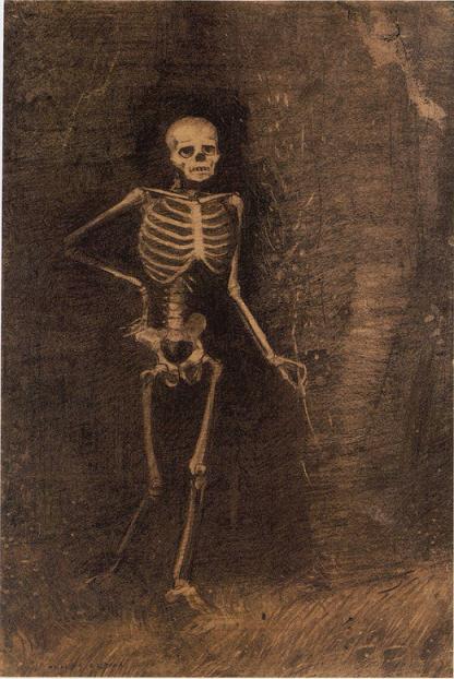 「骸骨」(1880年頃)オディロン・ルドン