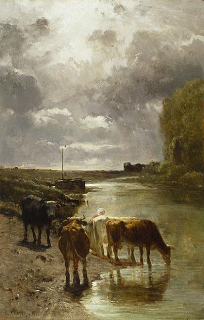 「水を飲む牛」(1851年)コンスタン・トロワイヨン