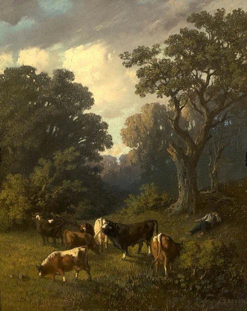 「林間で草を食べる畜牛」(1840年)コンスタン・トロワイヨン