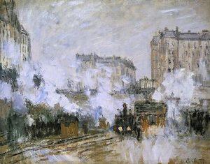 「サン=ラザール駅の外、列車の到着」(1877年)クロード・モネ