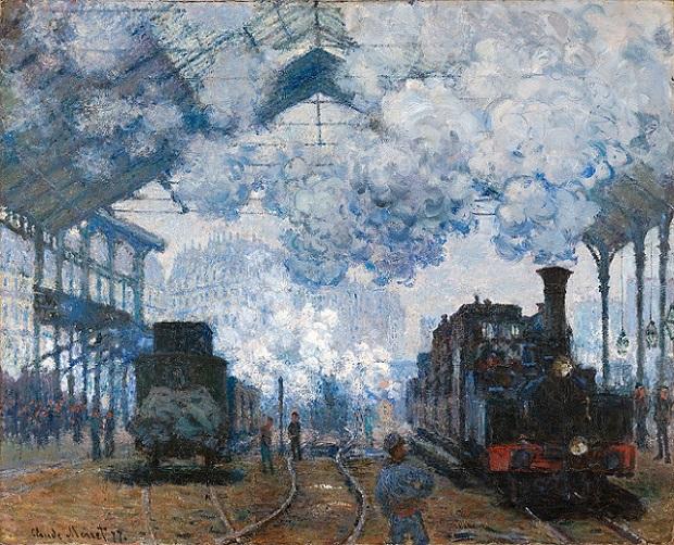 「サン=ラザール駅、列車の到着」(1877年)クロード・モネ