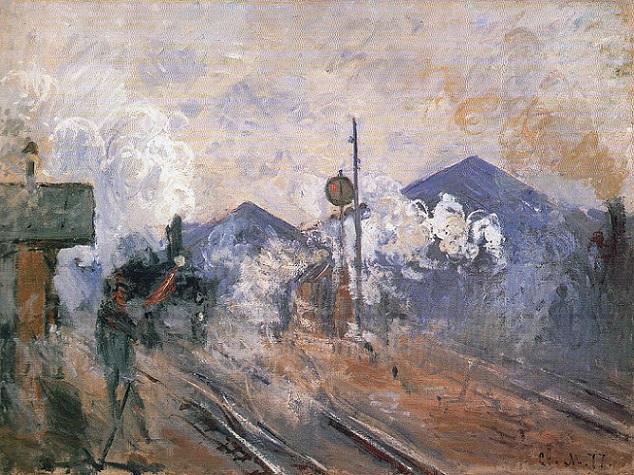 「サン=ラザール駅、構外の線路」(1877年)クロード・モネ