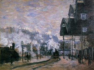 「サン=ラザール駅、外の光景」(1877年)クロード・モネ