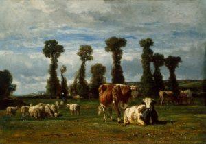 「ノルマンディーの牧草地」(1852年)コンスタン・トロワイヨン