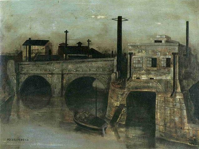 「運河風景」(1943年)松本竣介