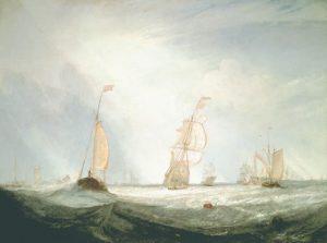 「ヘレヴーツリュイスから出航するユトレヒトシティ64号」(1832年)J・M・ウィリアム・ターナー