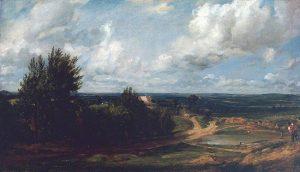 「ハムステッド・ヒース、「塩入れ」と呼ばれる家のある風景」(1819-20年)ジョン・コンスタブル