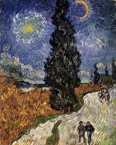 「夜のプロヴァンスの田舎道」(1890年)フィンセント・ファン・ゴッホ