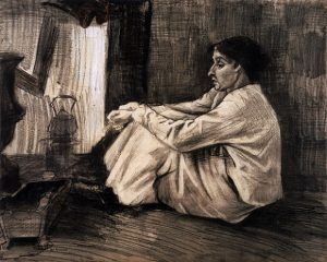 「暖炉のそばに座って、煙草をふかしているシーナ」(1882年)フィンセント・ファン・ゴッホ