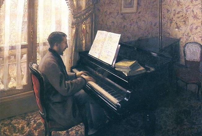 「ピアノを弾く若い男」(1876年)ギュスターヴ・カイユボット
