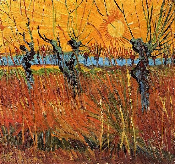 「日没の柳」(1888年)フィンセント・ファン・ゴッホ