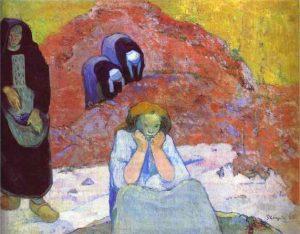 「アルル、ぶどうの収穫(人間の悲劇)」(1888年)ポール・ゴーギャン