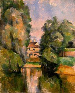 「川沿いの田舎家」(1890年)ポール・セザンヌ