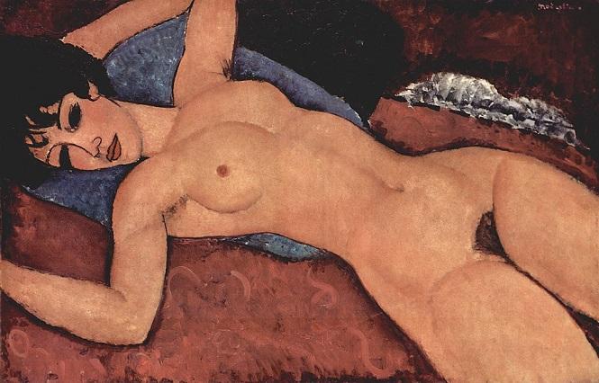 「赤い裸婦」(1917年)アメデオ・モディリアーニ