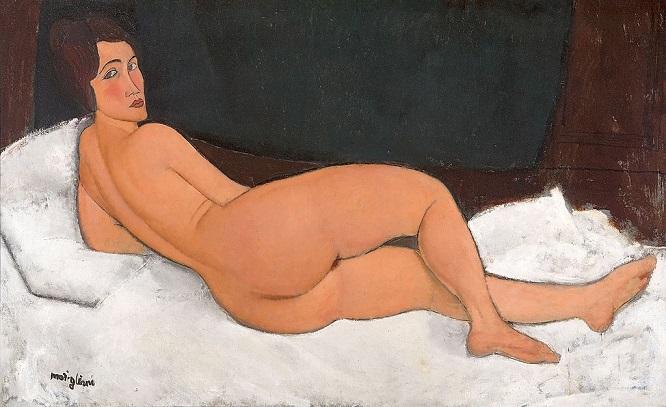 「横たわる裸婦」(1917年)アメデオ・モディリアーニ
