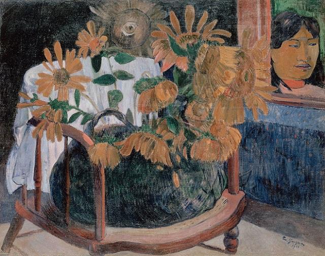 「肘かけ椅子の上のひまわりのある静物」(1901年)ポール・ゴーギャン