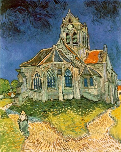 「オーヴェルの教会」(1890年)フィンセント・ファン・ゴッホ