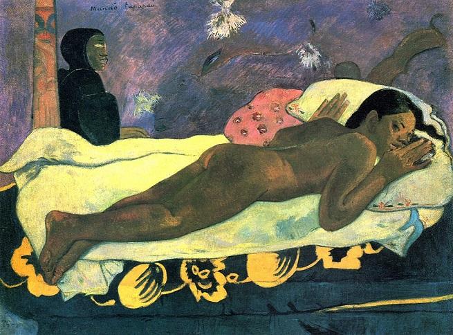 「死霊が見ている(マナオ・トゥパパウ)」(1892年)ポール・ゴーギャン