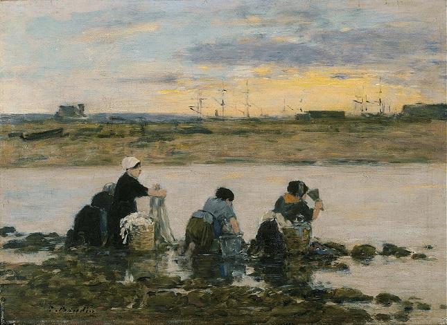 「川で洗濯をする女たち」(1880‐85年)ウジェーヌ・ブーダン