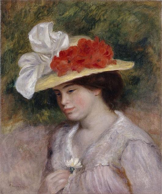 「花で飾られた帽子をかぶった女性」(1889年)ピエール=オーギュスト・ルノワール