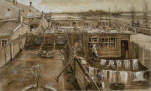 「大工の仕事風景と洗濯をする女」(1882年5月)フィンセント・ファン・ゴッホ