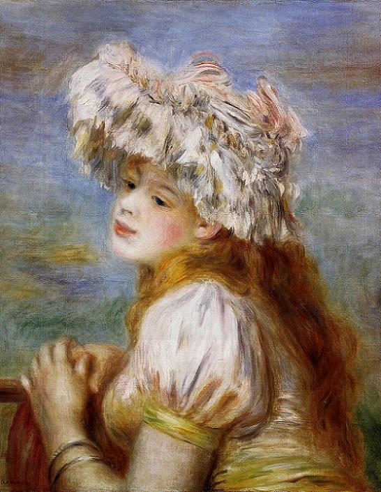 「レースの帽子の少女」(1891年)ピエール・オーギュスト・ルノワール