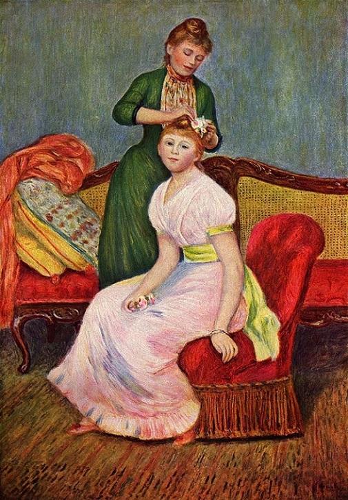 「髪かざり」(1888年)ピエール・オーギュスト・ルノワール