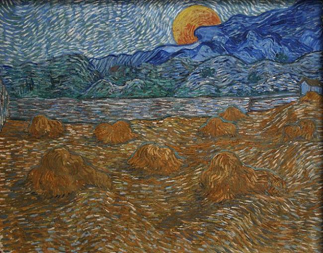 「麦束のある月の出の風景」(1889年7月)フィンセント・ファン・ゴッホ