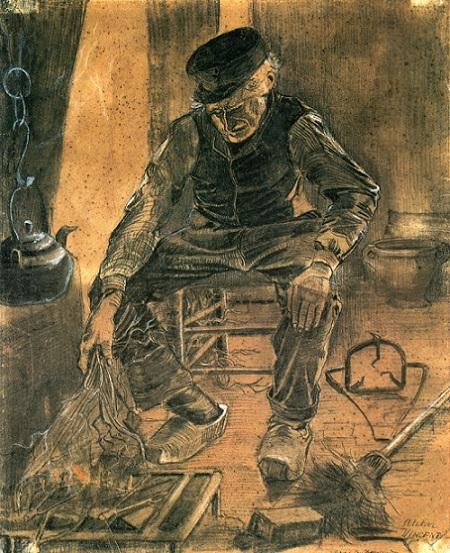 「暖炉の傍にいる老人」(1881年11月)フィンセント・ファン・ゴッホ