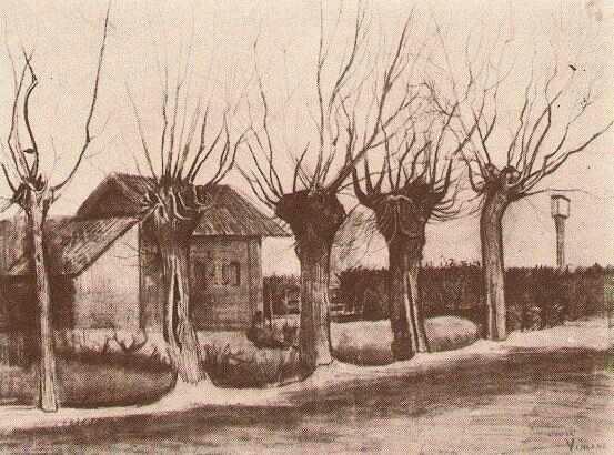 「刈り込んだ柳のある道」(1881年10月)フィンセント・ファン・ゴッホ
