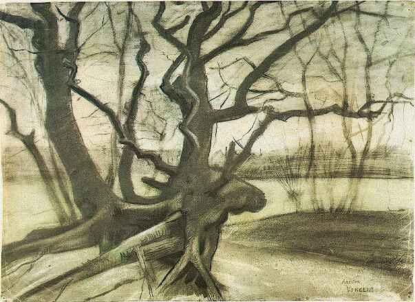 「砂地の木の根」(1882年4月)フィンセント・ファン・ゴッホ
